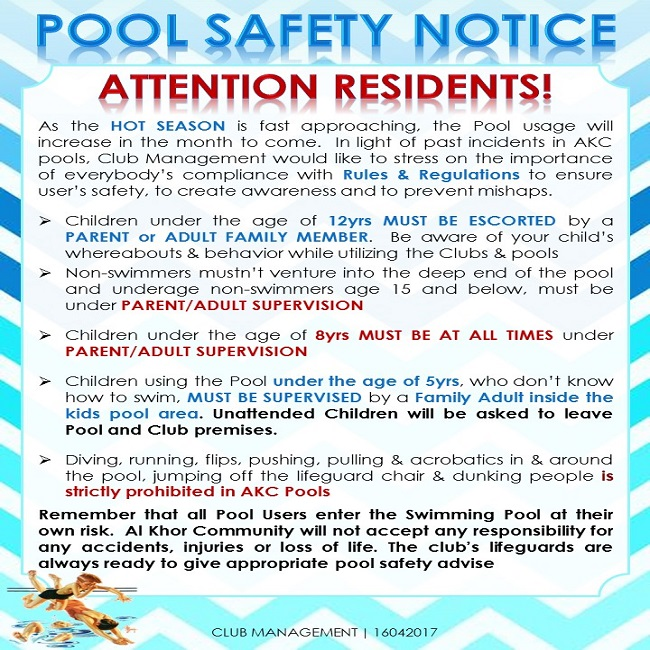 Club notice usage of swimming pool 2017 - Rules and regulations of swimming pool ...